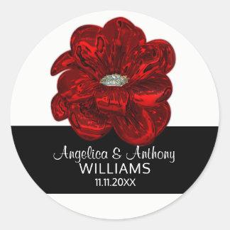 Adesivo Redondo Branco elegante, preto, selos do casamento da flor