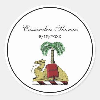 Adesivo Redondo Brasão heráldica da cor da palmeira do camelo
