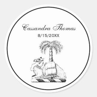Adesivo Redondo Brasão heráldica formal da palmeira do camelo
