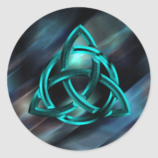 Adesivo Redondo Brilho azul celta do metal do nó da trindade