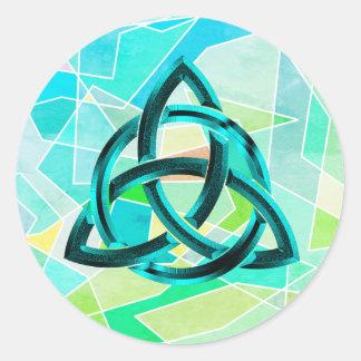 Adesivo Redondo Brilho azul geométrico celta do metal do nó da