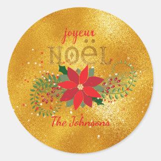 Adesivo Redondo Brilho de vidro alaranjado francês do Feliz Natal