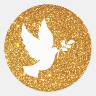 Adesivo Redondo Brilho do ouro da pomba do branco