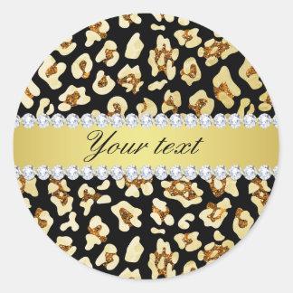 Adesivo Redondo Brilho do ouro do falso do leopardo e preto da