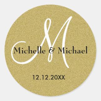 Adesivo Redondo Brilho do ouro do monograma dos noivos