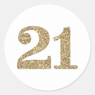 Adesivo Redondo Brilho moderno do ouro 21 do GRANDE NÚMERO da