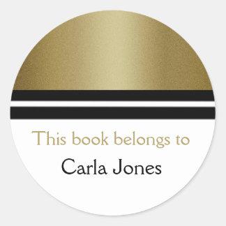 Adesivo Redondo Brilho personalizado do ouro dos Bookplates | da