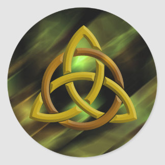 Adesivo Redondo Brilho verde celta do metal do nó da trindade
