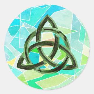 Adesivo Redondo Brilho verde geométrico celta do metal do nó da