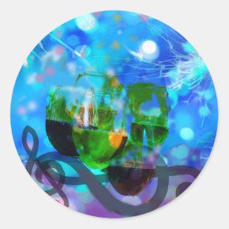 Adesivo Redondo Brindando vidros e notas da música