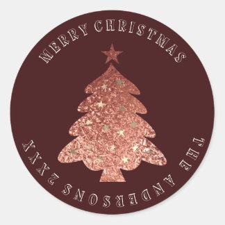 Adesivo Redondo Bronze cor-de-rosa de Borgonha do ouro da árvore