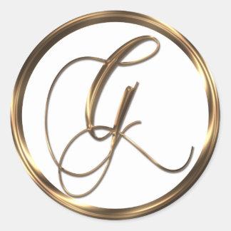 Adesivo Redondo Bronze do falso de G do monograma