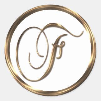 Adesivo Redondo Bronze do falso do monograma F