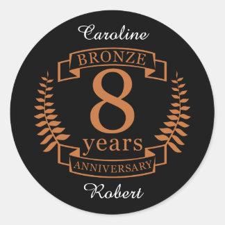 Adesivo Redondo Bronzeie o oitavo aniversário de casamento 8 anos
