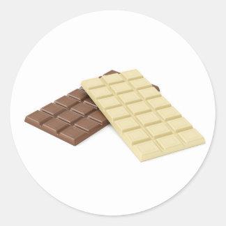 Adesivo Redondo Brown e bares de chocolate brancos