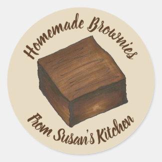 Adesivo Redondo Brownies caseiros personalizadas cozidas pela