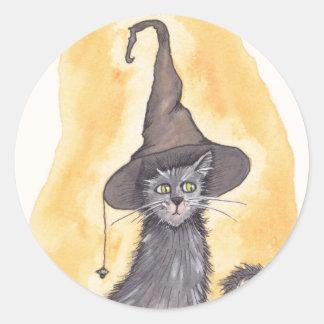 Adesivo Redondo Bruxa do gatinho do Dia das Bruxas