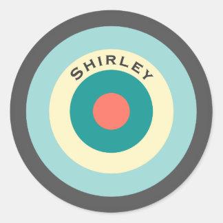 Adesivo Redondo Bullseye cinzento da combinação por Shirley Taylor