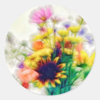 Adesivo Redondo Buquê do Wildflower do verão