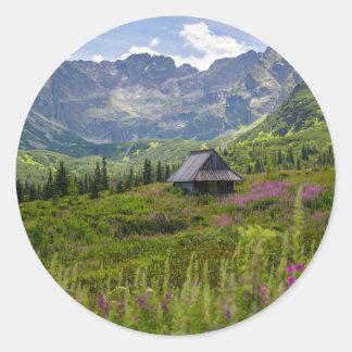 Adesivo Redondo Cabanas da montanha de Hala Gasienicowa