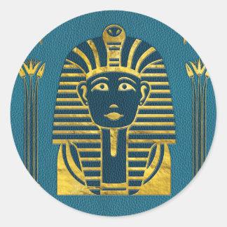 Adesivo Redondo Cabeça da esfinge do ouro com hieroglyphs egípcios
