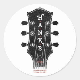 Adesivo Redondo Cabeça da guitarra de Hank