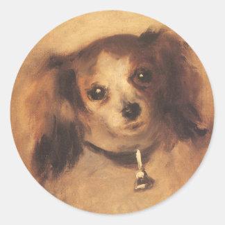 Adesivo Redondo Cabeça de um cão por Pierre Renoir, belas artes do