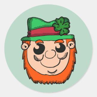 Adesivo Redondo Cabeça do Leprechaun dos desenhos animados