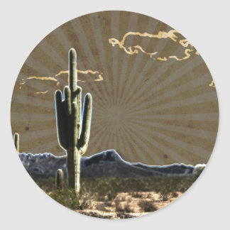 Adesivo Redondo cacto do sudoeste do Saguaro do succulent do