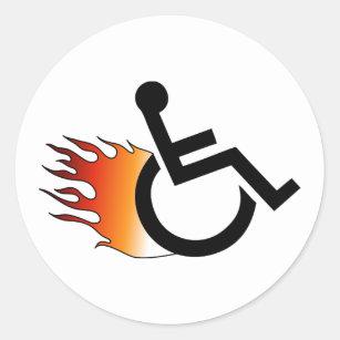 Adesivo Redondo cadeira de rodas flamejante