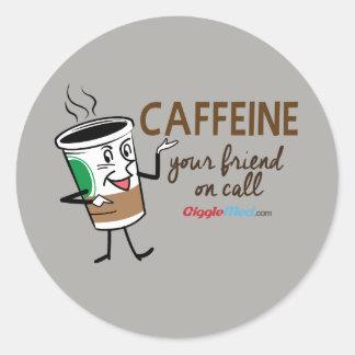 Adesivo Redondo Cafeína, seu amigo na chamada