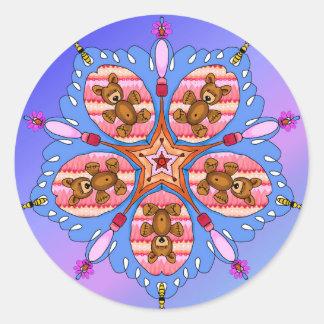 Adesivo Redondo Caleidoscópio dos ursos e das abelhas