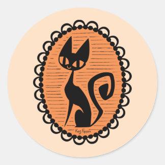 Adesivo Redondo Cameo do gato preto do Dia das Bruxas