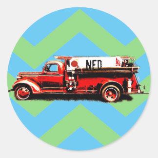 Adesivo Redondo Caminhão vermelho do vermelho do vintage