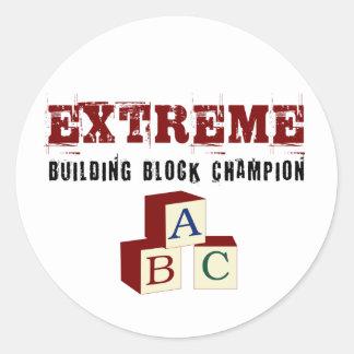 Adesivo Redondo Campeão extremo dos blocos de apartamentos do bebê