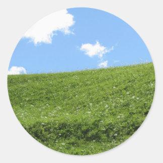 Adesivo Redondo Campo gramíneo no monte do rolamento contra o céu