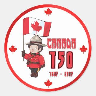Adesivo Redondo Canadá 150 anos de aniversário