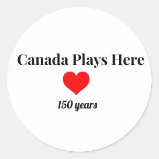 Adesivo Redondo Canadá 150 em 2017 Canadá joga aqui
