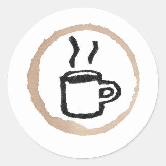 Adesivo Redondo Caneca de café/mancha quentes do café