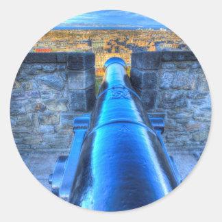 Adesivo Redondo Canhão do castelo de Edimburgo