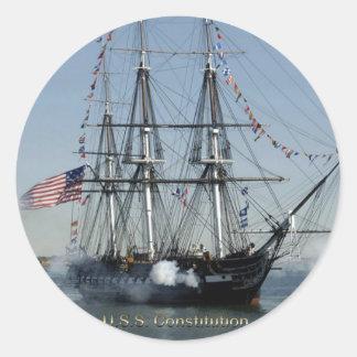 Adesivo Redondo Canhões do acendimento da constituição de USS