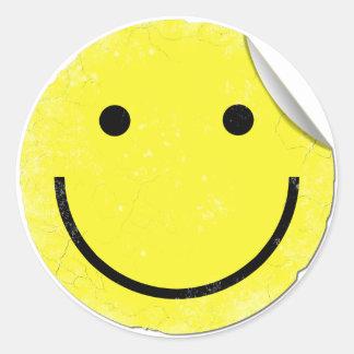 Adesivo Redondo Canto descascado afligido smiley face de |