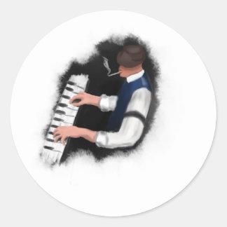 Adesivo Redondo Cantor do piano