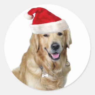 Adesivo Redondo Cão-animal de estimação do cão-papai noel de claus