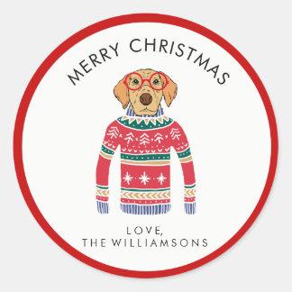 Adesivo Redondo Cão bonito engraçado que veste a camisola feia do