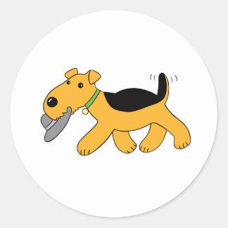 Adesivo Redondo Cão de Airedale Terrier dos desenhos animados com