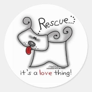 Adesivo Redondo Cão do salvamento… é uma coisa do amor