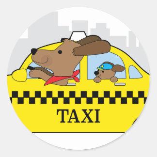 Adesivo Redondo Cão do táxi de New York