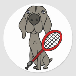 Adesivo Redondo Cão engraçado de Weimaraner que joga o tênis