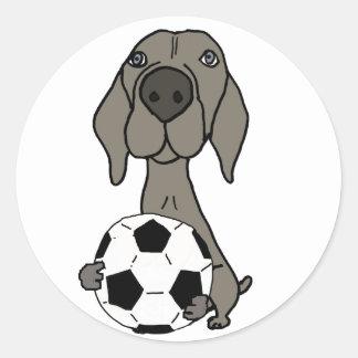 Adesivo Redondo Cão impressionante de Weimaraner que joga o